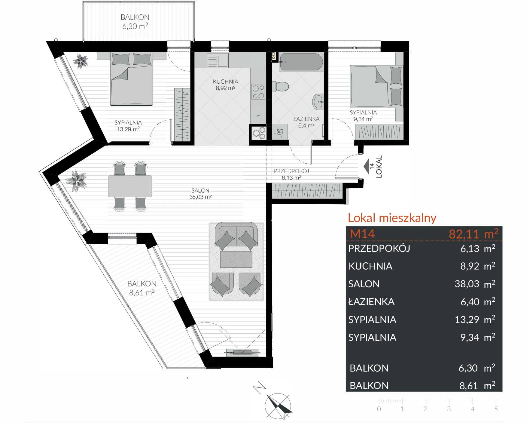 Apartamenty Kamienna / apartamenty inwestycyjne M14 rzut 1
