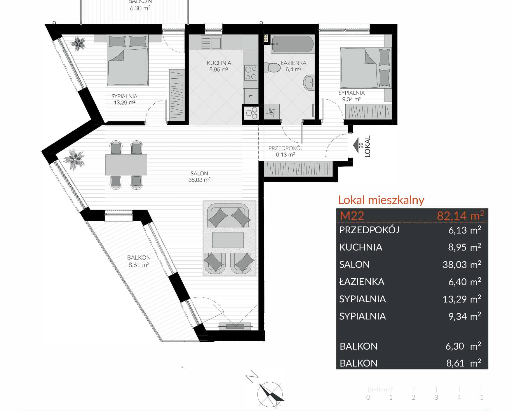 Apartamenty Kamienna / apartamenty inwestycyjne M22 rzut 1