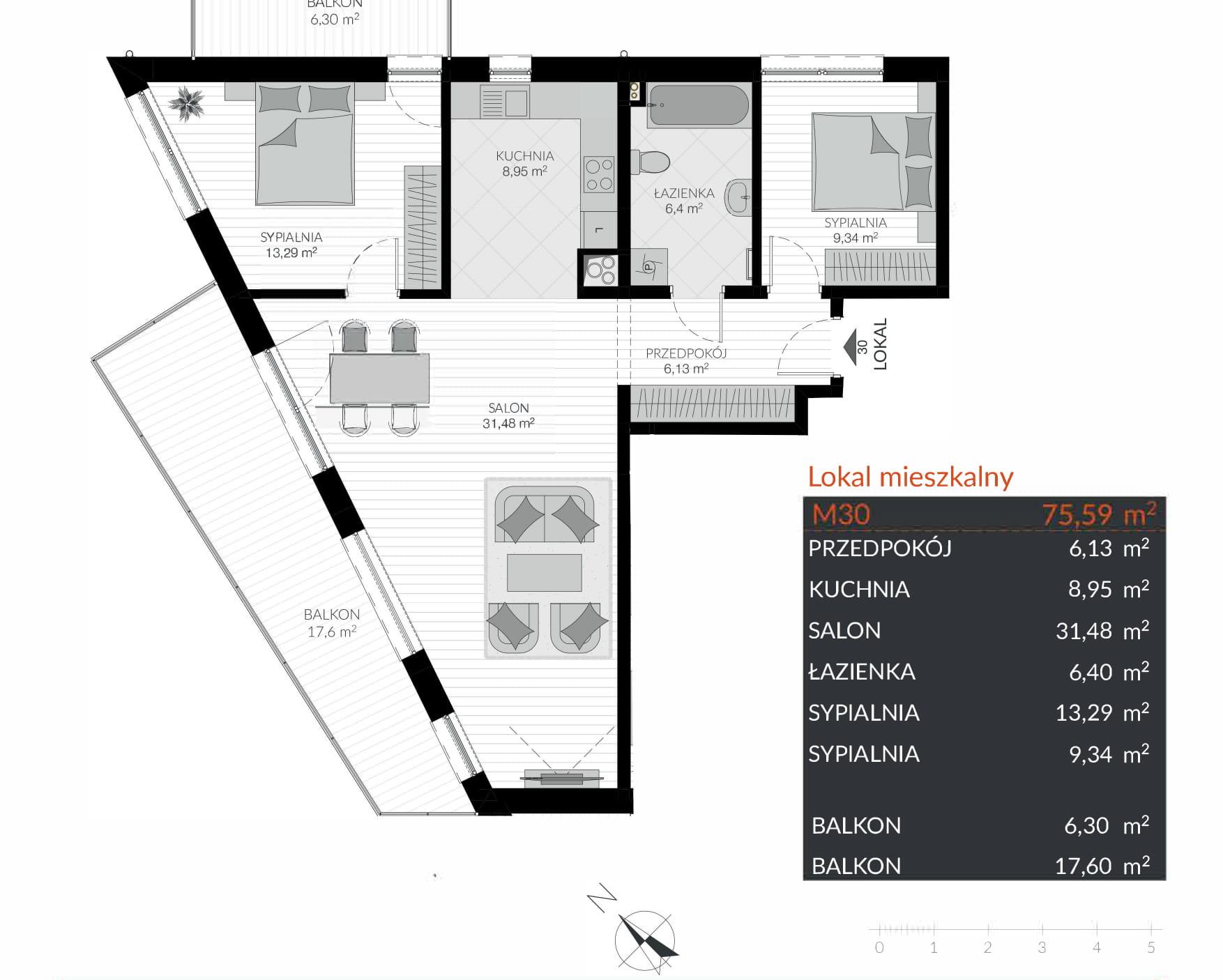 Apartamenty Kamienna / apartamenty inwestycyjne M30 rzut 1